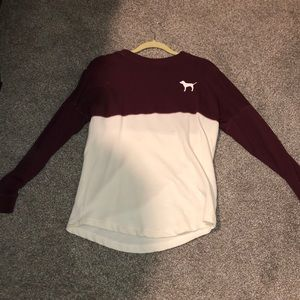 Maroon and white pink long sleeve
